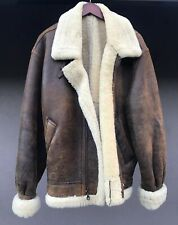 Vintage BigHorn Sheepskin Leather Heavy  Bomber Jacket Shearling Medium EXC