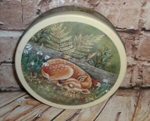 """Vintage Tin Container Round Baby Deer Sleeping in Woods  6.5"""" x 2"""""""
