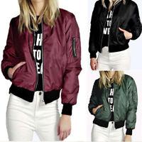 New Ladies MA1 Classic Padded Bomber Jacket Women Vintage Zip Up Biker Coat UK