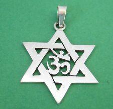 Mexican 925 Silver Taxco Ohm Om Mantra Yoga Star of David Jewish Unisex Pendant