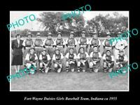 OLD POSTCARD SIZE PHOTO OF FORT WAYNE INDIANA DAISIES GIRL BASEBALL TEAM c1955