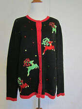 Merry & Bright Ugly Christmas Sweater Black Cardigan Red Green Reindeer Size L