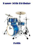 Personalised A5 Drums Birthday Card Any Relation Age Dad Son Brother Sister50 18