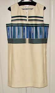 NWT Tory Burch 10 Mikado plaited striped engineered silk blend sleeveless dress
