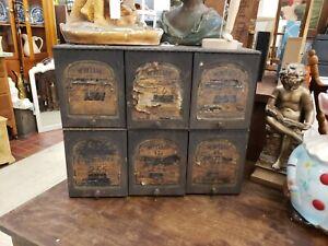 Antique Metal Counter top Medicine Cabinet With Paper Labels Industrial Look
