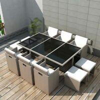 vidaXL Outdoor Dinning Set 27 Piece Poly Rattan Wicker Patio Garden Furniture