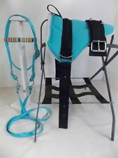 MINI HORSE / SM PONY BAREBACK SADDLE SET - BRIDLE/BIT/STIR TURQUOISE WITH NATIVE