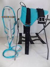 MINI HORSE / SM PONY BAREBACK SADDLE SET - BRIDLE/BIT/STIR TURQUOISE WITH NATIVE