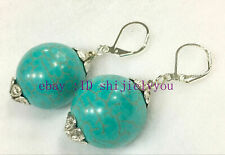 blue handmade silver Stud Earrings Huge 20mm Fashion Jewelry Turquoise