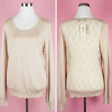 Forever 21 Women's Lace Sweater Size Large NWT Blush Pink Beige Sheer Lace Back