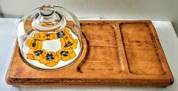 Vintage Goodwood  Cheese Crackers Meat Serving Plate Tray Glass Dome Japan