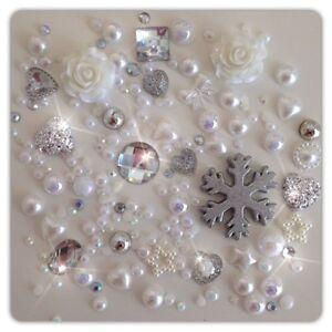Silver and White Cabochon Crystals Gems Pearls flatbacks for decoden craft cards