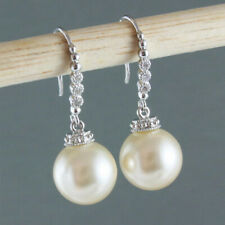 Elegant 925 Silver Drop Earrings for Women White Pearl Jewelry A Pair/set