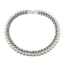 2015 New Multi-Layer Collar Choker Pearl Jewelry Silver Bib Statement Necklace