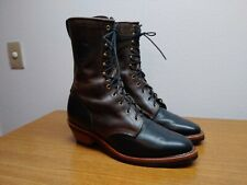 Mens 12 EE Chippewa Black/Brown Leather Lacers Packers Cowboy Boots, WORN ONCE!!