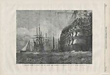 ANTIQUE 1865 PRINT SHIPS TAKING IN STORES by J M W TURNER B170