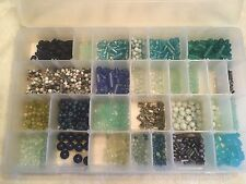 2.75 Lbs Mixed Lot Beads Agate Jade Lapis Glass Sorted in Plastic Container