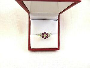 1.12 ct Natural Rhodolite Garnet & Peridot Sterling Silver Flower Ring
