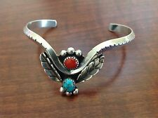 NAVAJO MARY S. LEW STERLING SILVER TURQUOISE CORAL CUFF BRACELET