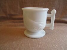 Antique Atterbury & Co. Eastlake Milk Glass Robin/Bird & Wheat Footed Mug