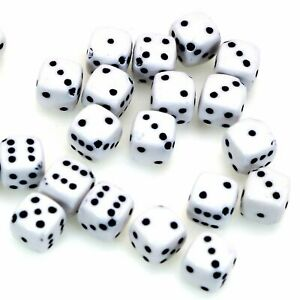 100 White Colour with Black Acrylic Cube Dice Beads 8X8mm Diagonal Hole Funny