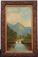 EARLY/MID 19TH CENTURY PAINTING ARTIST SIGNED OIL ON CANVAS ALPINE MT. SCENE