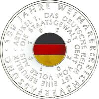 Deutschland 20 Euro 2019 Weimarer Reichsverfassung nur in Farbe geprägt