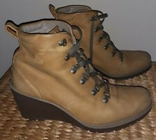 Ecco wedge boots leather tan UK 6.5 40  winter autumn lace up