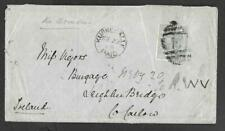 CEYLON, 1880 COVER TO IRELAND, 4c RATE, BACK STAMPS