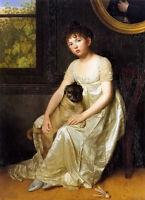 Oil painting Francois van der Donckt - portrait of sylvie de la rue girl & dog