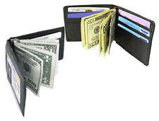 BLACK ID HOLDER LEATHER BiFold MONEY CLIP Credit card Wallet  HOLDER Nice 341