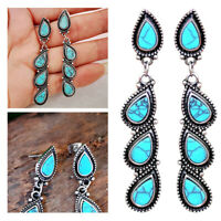 Retro Turquoise Dangle Drop Earrings Long Ear Stud For Women Charm Jewelry