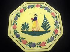 QUIMPER SOLEIL YELLOW TABLE MAT PLATE OCTAGONL LADY