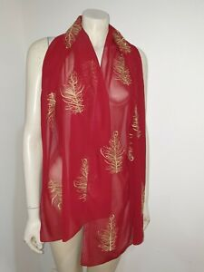 Red Sheer Gold Embroidered Scarf Shawl Craft Fabric Home Decor