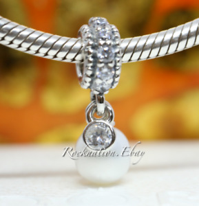 Authentic Pandora #791871P Luminous Elegance Charm with White Pearl and Clear CZ