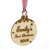 Baby's First Christmas Bauble, Personalised Wooden Tree Decoration, Snowflakes.
