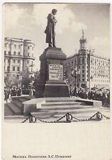 Russia; Soviet Era Moscow, Pushkin Statue PPC Unposted, c 1950s