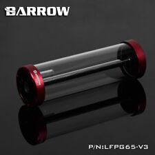 Barrow Aluminum Glass Reservoir Tank Water Cooling G1/4 Thread 65mm x 220mm Red
