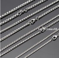 "Wholesale In Bulk Lots Silver Stainless Steel Charm Box Chain Necklace 18""-30"""