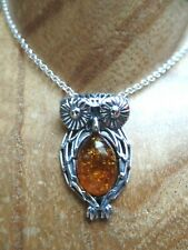 Sterling Silver and Polish Amber Wise Owl Necklace Taurus Birthstone