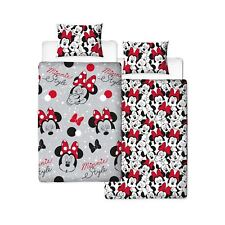 OFFICIAL MINNIE MOUSE CUTE SINGLE DUVET COVER & PILLOWCASE SET REVERSIBLE GIRLS