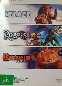 Ice Age / Robots / Garfield The Movie DVD (Pal, 3 Disc Set) FREE POST