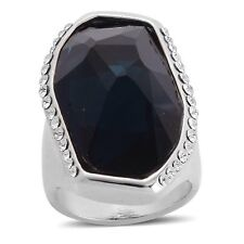 Simulated Blue Sapphire & Austrian Crystal Ring In Silver Tone Size N