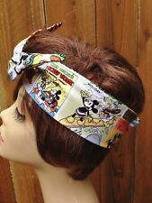 Mickey Mouse Disney Cartoon  Print Wired Dolly Bow Wire Headband