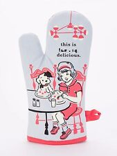 Blue Q Funny Novelty Oven Mitt, This is F***-ing Delicious, Blue/Red, New
