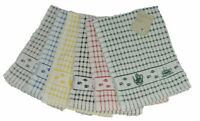 PACK OF 3 LUXURY LARGE 100% COTTON TERRY TOWEL CHECK JACQUARD TEA TOWEL TEA TIME
