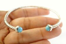 Turquoise Ornate Balinese 925 Sterling Silver Cuff Bangle Bracelet