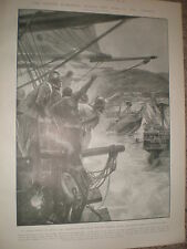 Penn and Venables sink the Spanish ships Jamaica in 1655 RC Woodville 1903 print