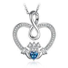 JewelryPalace Love Infinity Heart Sky Blue Topaz Pendant 925 Sterling Silver