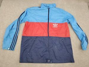 Vintage 80s 90s Adidas Full Zip Track Jacket Size 40 XL Trefoil 3 Stripes Nylon